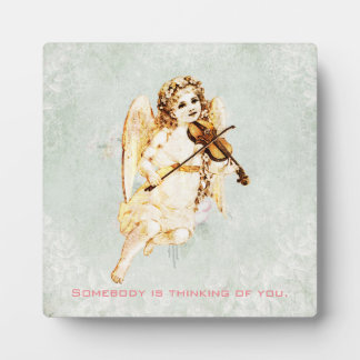 Somebody Is Thinking Of You Angel Playing Violin Plaque