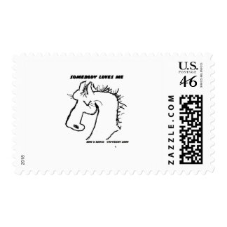 Somebody Loves Me Cartoon Horse Postage