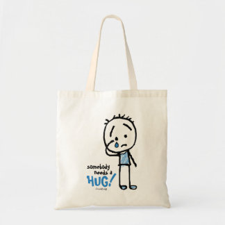 Somebody needs a HUG! Teary Ted cartoon stick man Tote Bag