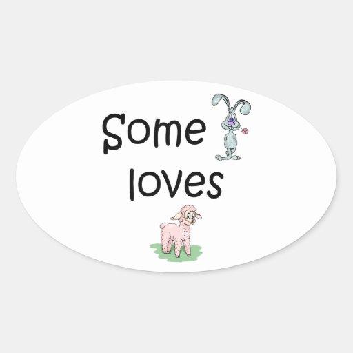 Somebunny ama la oveja (las imágenes) calcomanías de ovales personalizadas