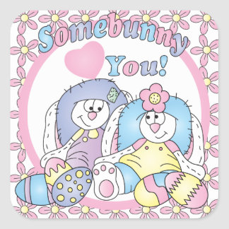 Somebunny Loves You   Easter Square Sticker