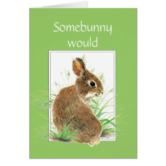 Somebunny says Thanks Fun and Humor Cute Bunny Stationery Note Card