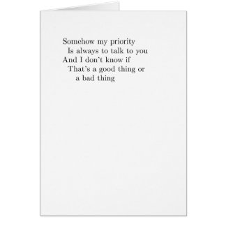 """somehow my priority"" card"