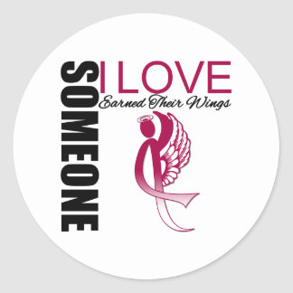 Someone I Love Earned Their Wings Throat Cancer Round Stickers