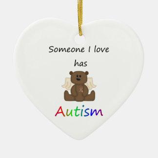 Someone I love has autism (boy bear) Ceramic Ornament