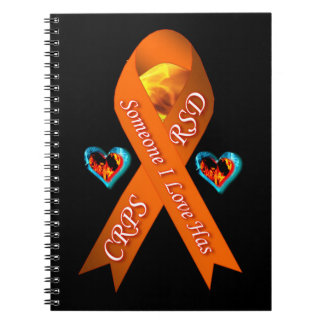 Someone I Love Has CRPS RSD Fire & Ice Heart Duo Spiral Note Books