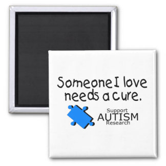 Someone I Love Needs A Cure (Blue P) 2 Inch Square Magnet