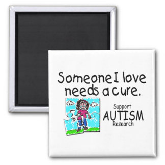 Someone I love Needs A Cure (Girl Crying) 2 Inch Square Magnet