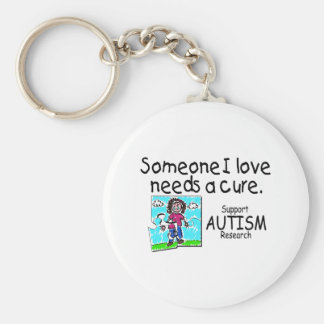 Someone I love Needs A Cure (Girl Crying) Basic Round Button Keychain