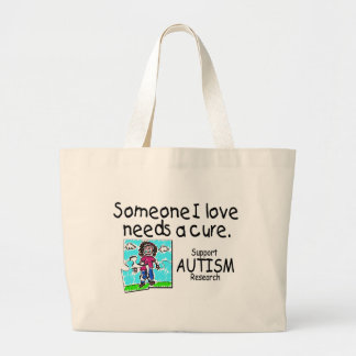 Someone I love Needs A Cure (Girl Crying) Large Tote Bag