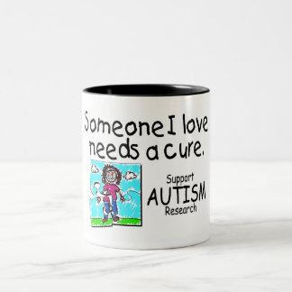 Someone I love Needs A Cure (Girl Crying) Two-Tone Coffee Mug