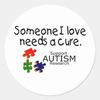 Someone I Love (Puzzle Pieces) Classic Round Sticker