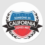 Someone In California Loves Me Round Stickers