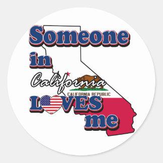 Someone in california loves me classic round sticker