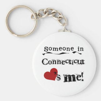 Someone In Connecticut Loves Me Basic Round Button Keychain