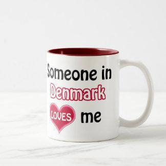 Someone in Denmark Loves me Two-Tone Coffee Mug