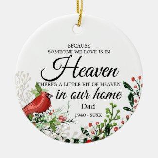 Someone In Heaven Cardinal Greenery Photo Ceramic Ornament