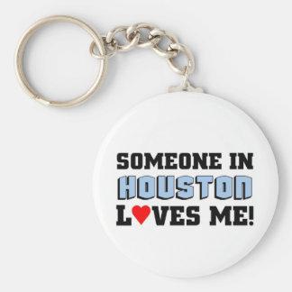 Someone in Houston Loves me Basic Round Button Keychain