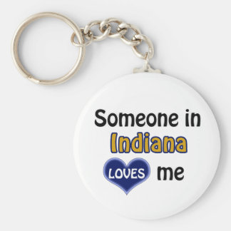 Someone in Indiana Loves me Keychain