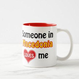 Someone in Macedonia loves me Two-Tone Coffee Mug