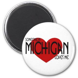 Someone in Michigan Loves Me 2 Inch Round Magnet