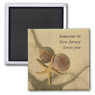 Someone In New Jersey Loves You-Beach Shells 2 Inch Square Magnet