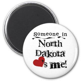 Someone In North Dakota Loves Me 2 Inch Round Magnet