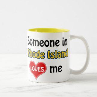 Someone in Rhode Island loves me Two-Tone Coffee Mug