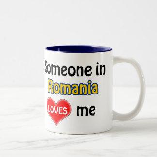 Someone in Romania loves me Two-Tone Coffee Mug