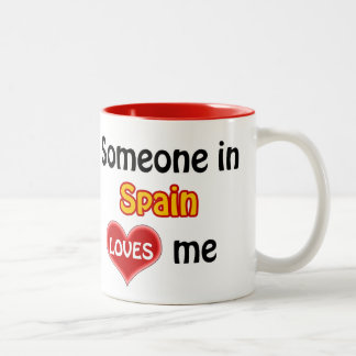 Someone in Spain loves me Two-Tone Coffee Mug