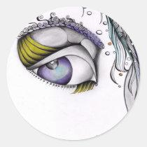 female, creative, portrait, fantasy, look, eye, ink, white, artsprojekt, drawing, Sticker with custom graphic design