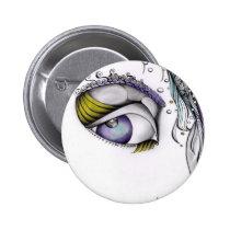 female, creative, portrait, fantasy, look, eye, ink, white, artsprojekt, drawing, Button with custom graphic design