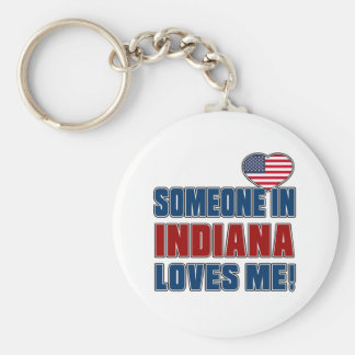 SOMEONE LOVES ME IN INDIANA KEYCHAIN