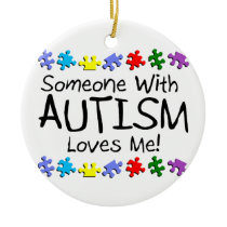 Someone with Autism Loves Me Autism Puzzle Ceramic Ornament