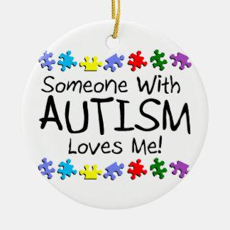 Someone with Autism Loves Me Autism Puzzle Ceramic Ornament