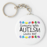 Someone With Autism Loves Me Basic Round Button Keychain