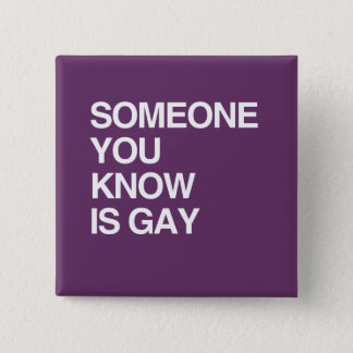 SOMEONE YOU KNOW IS GAY PINBACK BUTTON