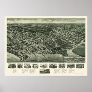 Somers-Punto, mapa panorámico de NJ - 1925 Póster