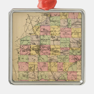 Somerset Co, Maine Square Metal Christmas Ornament