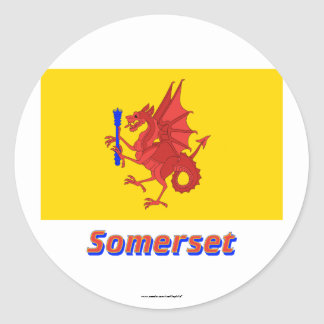 Somerset Flag with Name Round Sticker