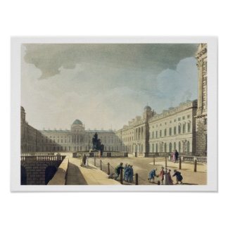 Somerset House, Strand, from 'Ackermann's Microcos Poster