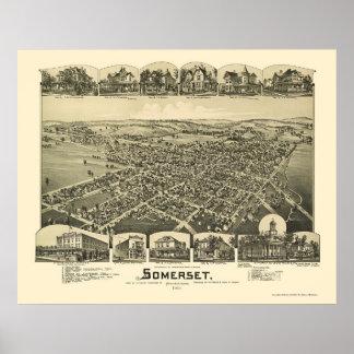 Somerset, mapa panorámico del PA - 1900 Póster