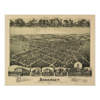 Somerset Pennsylvania 1900 Antique Panoramic Map Posters