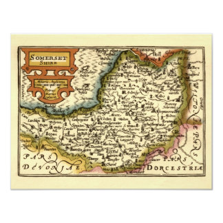 """""""Somersetshire"""" Somerset County Map, England Card"""