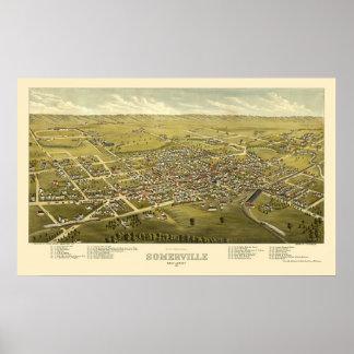 Somerville, mapa panorámico de NJ - 1882 Póster