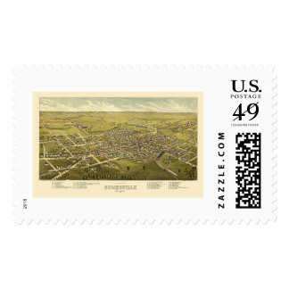 Somerville, NJ Panoramic Map - 1882 Postage Stamps
