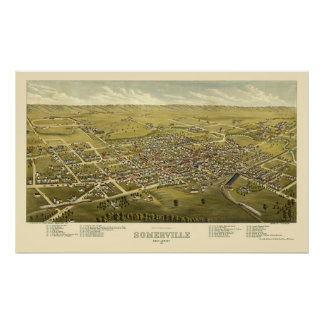 Somerville, NJ Panoramic Map - 1882 Poster