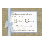 Something Blue Burlap and Bow Wedding Web Info Business Card Template