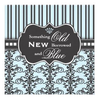 Something Blue Damask Stripe Bridal Shower Announcements