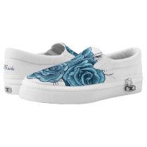 something blue flower print bridal shoes